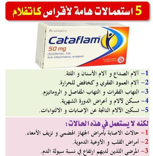 موانع استعمال دواء Cataflam